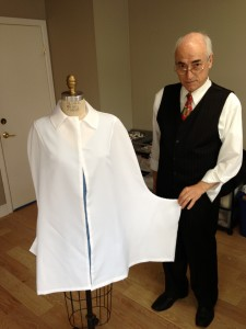 Patternmaker makes a cape